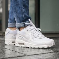 Nike Air Max 90 Mesh GS Triple White 100% Authentic New Trainers 833418 100