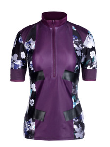 adidas by Stella McCartney Floral Purple Techfit Top Full Zip Front T-Shirt Sz M