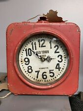 Rustc Two-Sided Old Town Clock Industrial Steam Punk Urban Red Distressed Paint