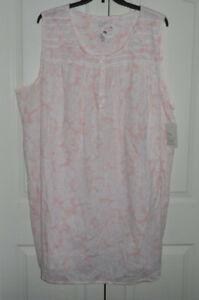 Plus Size Croft Barrow Pintuck 100% Cotton Sleeveless Short Sleepshirt Nightgown