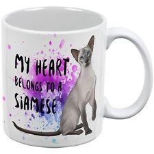 My Heart Belongs Siamese Cat White All Over Coffee Mug