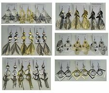 Fashion Jewelry lot 12 pairs Antique  Plated Big Fashion Dangle  Earring #9