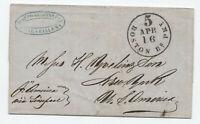 1854 transatlantic stampless Marseilles France to NYC via Boston [H.561]