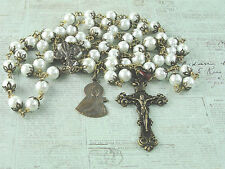 French Rosary St.Therese Czech Pearls & gold lined Czech crystals Vintage Bronze