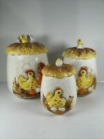Vintage 1976 Sears Roebuck & Co 3 Pc  Chicken Canister Set with Lids