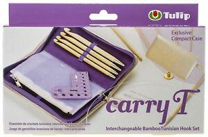 Tulip Carry T Interchangeable Bamboo Tunisian Hook Set-W/Case -TP1196