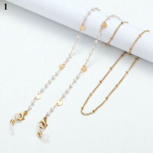 Gold Geometric Heart Eyeglass Chain Sunglasses Read Glasses Holder Rope Necklace