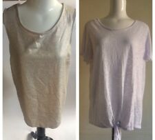 New Look & George Tops X 2 Pair Platinum Gold & White Size 18 New With Tags