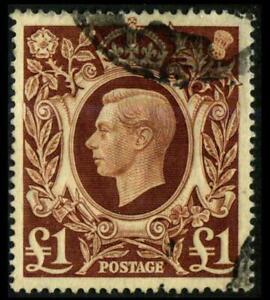 GREAT BRITAIN 275 Red Brown 1£ KING GEORGE VI Used $25 SG478c SEE PHOTOS J-498