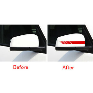 Red Car Accessories Rearview Mirror Carbon Fiber 5D Sticker Vinyl Stripe Decal #