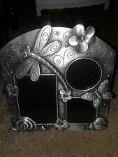 """PEWTER PICTURE FRAME WITH BUTTERFLIES,LADYBUGS,DRAGONFLY,8.5""""H/8""""L,NWT"""