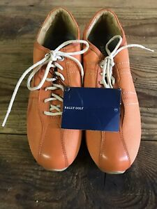 Bally Fresh Golf Shoes Womens Size 8 Orange Leather Unworn Spike less High 2 Out