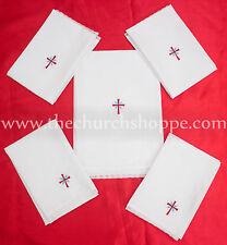 Altar Lino Conjunto De 5 , 1 Corporal, 2 Purificador 2 Toalla