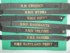 More details for genuine royal navy cap tally hm cruiser + 6 sailor seaman hat band ribbons naval