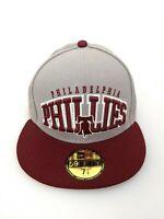New Era Philadelphia Phillies Hat Cap Adult 7 3/8 Gray Red Cooperstown MLB