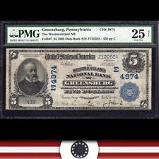 SCARCE 1902 $5 GREENSBURG, PA  National Bank Note PENNSYLVANIA CURRENCY