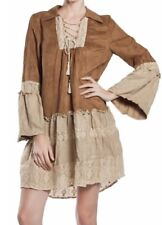 Ryu Anthropologie Dress Sm Suede Lace Up Long Bell Sleeve Boho Hippie Festival