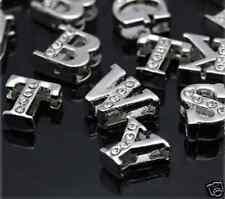 10 ausgefallene Buchstaben Ihrer Wahl, Perle mit Strassbesatz, Slide Charms