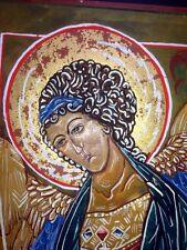 VTG ARC ANGEL GABRIEL ICON Rev R Cannuli OSA, MFA Hand Painted Gold Leaf Wood