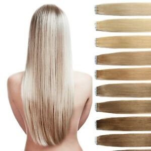 Tape In On Extensions Remy Echthaar Haarverlängerung 35cm 45cm 50cm 60cm Tresse