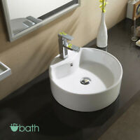 Bathroom Vessel Basin Sink Bowl Porcelain Ceramic with Pop Up Drain Combo White