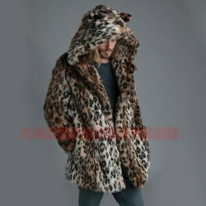Winter Men Leopard Faux Fur Coat Hooded Parka Thick Warm Jacket Outwear Occident