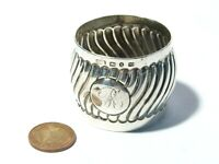 1890 Solid Silver Napkin Ring  Wavy Pattern Design + R Engraved Initial 29g