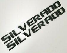 2 pcs gloss Black SILVERADO DOOR BADGE fit Chevy Nameplate Letters Emblem name