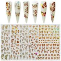 New Nail Art DIY Nail Decals Adhesive Holographic Nail Stickers 3D Butterfly AU
