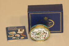 Halcyon Days Turquoise Enamel Oval Trinket Box Three Birds in Berry Tree S.F.