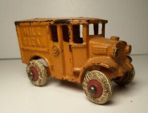 """Vintage Hubley Cast Iron Orange Milk Cream Truck - 3 1/2"""""""