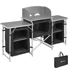 Cocina de Camping Exterior Compartimentos Acampada Aluminio Plegable Negro Nuevo