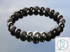 Hematite Onyx Natural Gemstone Bracelet 7-8'' Elasticated Healing Stone Chakra