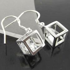 GENUINE REAL 925 STERLING SILVER S/F DIAMOND SIMULATED DROP EARRINGS