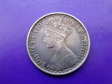 """British 1856 Gothic Florin Silver Two shillings Scarce """"Early Date"""" (NFM)"""