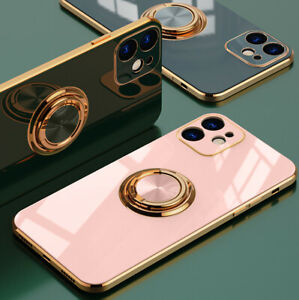 For iPhone 11 12 Pro Max XR XS X 8 7 Magnetic Shockproof Ring Holder Case Cover