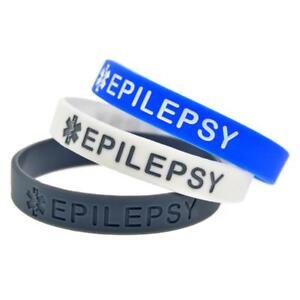 (X1) Epilepsy Medical Alert Awareness Wristbands Epileptic Silicone Bracelet UK
