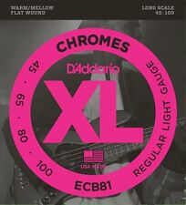 D'Addario ECB81 XL Chromes Flat Wound Bass Guitar Strings 45-100 long scale