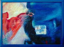 Jiawan Jang 1968 Kaifeng/China Abstraktion in Blau 90 x 120 cm Öl-Collage selten