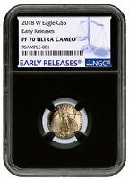 2018-W 1/10 oz Gold American Eagle Proof $5 NGC PF70 UC ER Blck SKU52622