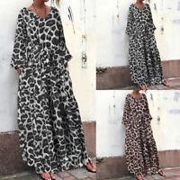 Plus Size Womens Leopard Print Maxi Dress Ladies Long Sleeve Casual Loose Kaftan