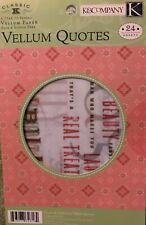 K & Company Classic McKenna Vellum Quotes Scrapbook Mat Pad 24 Sheets