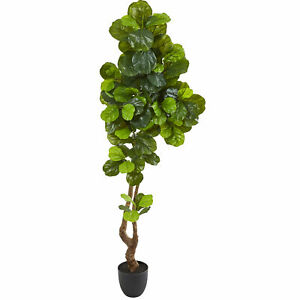 "Fiddle Leaf Artificial Tree Real Touch Nearly Natural 78"" Home Garden Decoration"