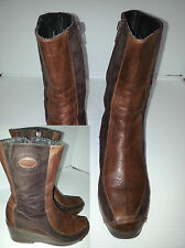 """PAOLA Womens 10"""" Brown Leather/Suede Boots Shoes Size 39"""