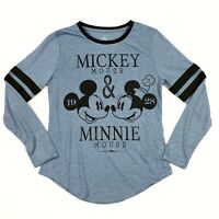 Disney Parks Mickey Mouse Minnie Mouse 1928 Long Sleeve Shirt Blue • XS