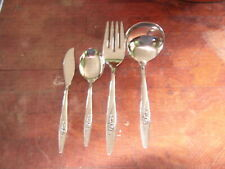 4 Oneidacraft Deluxe Lasting Rose Stainless Steel Serving Pieces Flatware