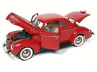 Danbury Mint Model Cars 1940 Ford Deluxe Coupe (RED & BOXED WITH CERTIFICATE)