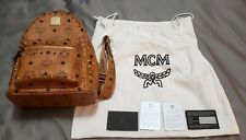 Mcm Stark Outline Studded Visetos Small Backpack Women's Cognac