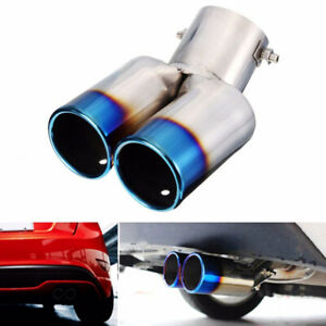 Dual Exhaust Pipe Tailpipe Stainless Steel Tail Muffler Throat Car Accessories
