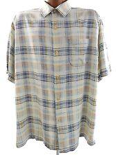 ECU TOMMY BAHAMA Mens Large Silk Short Sleeve Button Front Plaid Camp Shirt